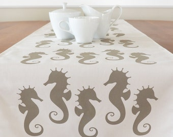 Delicieux Seahorse Table Runner, Cream Table Runner, Blue Table Runner, Beach Table  Runner,