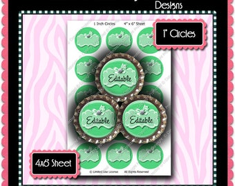 Editable Bottle Cap Images Instant Download JPG & PDF Formats - Pastel Bow Md Green (ET218) Digital Bottlecap Collage Sheet