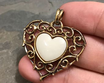 Gold over Sterling silver pendant, solid 925 silver heart pendant with white stone and filigree details, stamped 925 Lenox