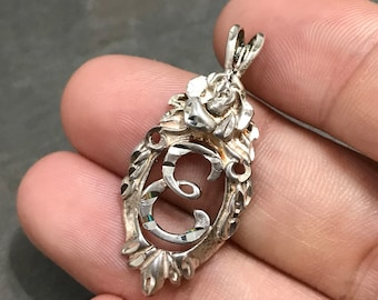 """Vintage sterling silver handmade name pendant, solid 925 silver initial """"E"""", stamped 925 CM"""