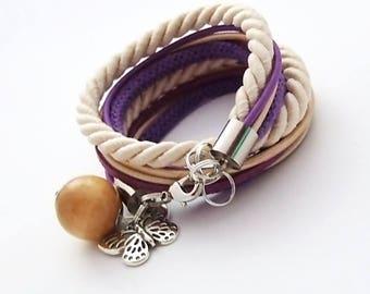 Double bracelet beige-violet