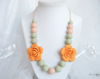 Teething necklace nursing necklace silicone sensory necklace chew necklace peach olive green mustard yellow flower chewelry baby girl shower