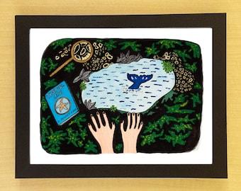 Tide Pool Life Print (tide pool art - ocean art - ocean decor - marine biology - marine biologist - ocean print - ocean painting -whale art)