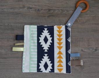Baby Tag Blanket with Wooden Teething Ring, Sensory Toy - Arizona Arid Horizon