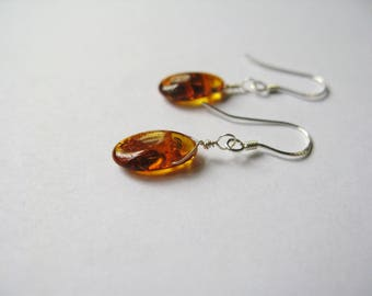 Simple Amber drop earring-Natural baltic Amber earrings, 14k gold filled or sterling silver- Genuine baltic amber earring