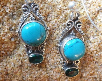 Turquoise and Emerald Quartz set in Sterling Silver