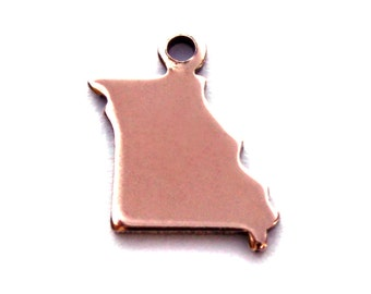 2x Rose Gold Plated Blank Missouri State Charms - M132-MO