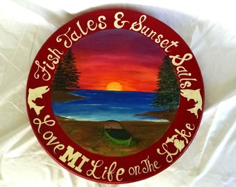 Hand Painted Michigan Lakes Themed Lazy Susan