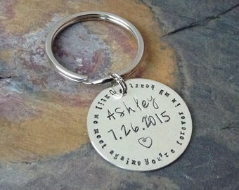 Sterling Silver personalized key chain - remembrance