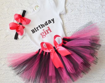 Birthday girl outfit, black and pink birthday outfit, birthday girl outfit, first bday outfit, birthday tutu, pink black, birthday set