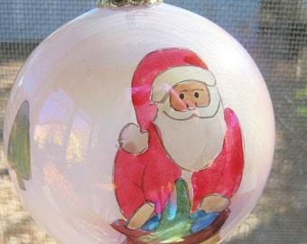 Christmas Ornament, Vintage Dollar Tree, Handpainted, 3 Inch Glass Ornament, Original Box, Iridescent Ornament, Hand Painted,