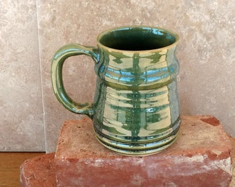 Frosty Green Beer Mug. Man's Big Beer Stein. Over16 Oz Tankard. Extra Large Coffee Cup. Oversize Handmade Stoneware Pottery Coffee Cup.