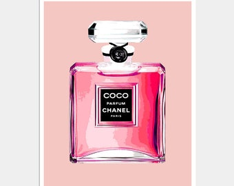 Chanel - CoCo Chanel Perfume Bottle Print - Pink Perfume Print - Pink Chanel Perfume Bottle Print - Chanel Print