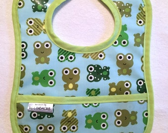 Wipeable Laminated Cotton Pocket Bib, Water Resistant, Frogs on Blue - Feeding Bib, Toddler Bib, Baby Bib, frog