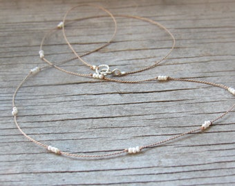 tiny seed FRESHWATER PEARL silk cord necklace hand knotted June birthstone bridesmaid bride dainty delicate