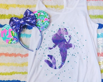 Mermaid Under The Sea Splatter Top, Disney Inspired, Princess, Bubbles.