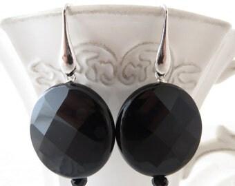 Black onyx earrings, sterling silver 925 earrings, coin earrings, dangle earrings, gemstone jewelry, contemporary jewelry, italian jewelry