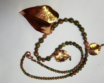 Copper Leaf Pendant Necklace