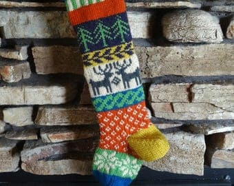 Knit Christmas Stocking, Personalized Christmas Stockings, Hand Knitted Christmas Stocking, Knit Stockings, Gray Reindeer, Plum Trees