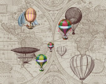 "Hot Air Balloon Fleece Blanket - ""Airships"" steampunk throw blanket -  brown and tan , sofa, couch, bed, travel decor,  winter, warm maps"