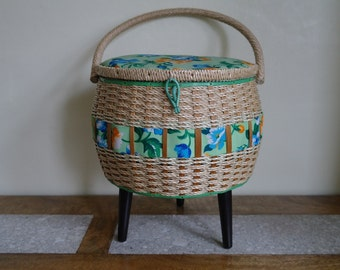 Vintage Kitsch Wicker Sewing Basket, Sewing Box, Craft Box, Standing.