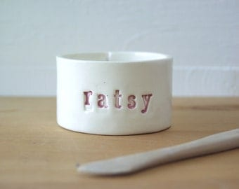 Ratsy Rat Bowl. Very Small Bowl For Very Small Companions.  Made From Recycled Clay.  In Pink.