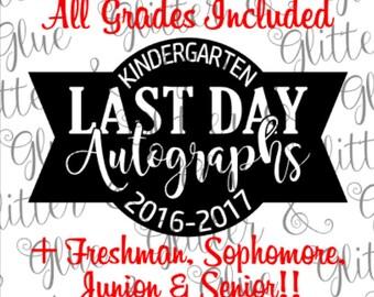 Last Day of School Autographs SVG