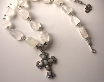 Aurora Cross: Frosted rock crystal, labradorite, sterling silver necklace