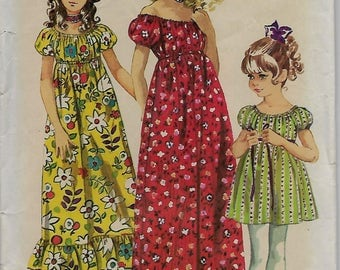 """Simplicity 9389       Child's and Girl's  """"BoHo"""" Style  Dress in 2-Lengths      Size 10      Uncut"""