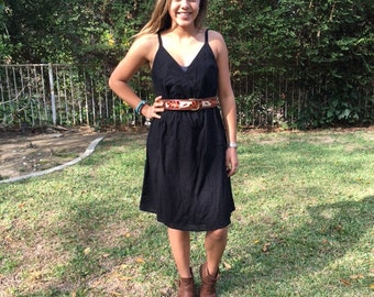 "Black cotton dress, 100% cotton, size 12 ""belt not included"""