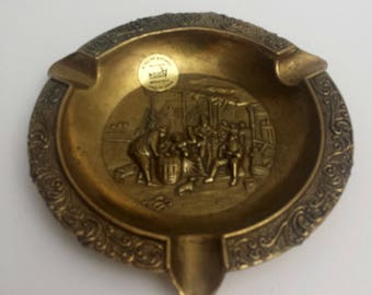 vintage old world design brass round ashtray handcrafted in Italy by Action
