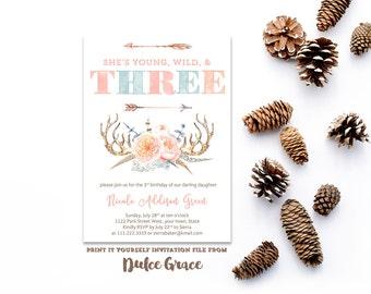 3rd birthday invitations, child birthday invites, wild invitations, native american invitations, arrows invites, feathers invite, pdf invite