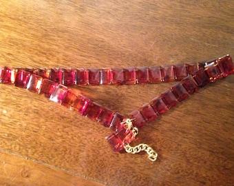 """vintage amber lucite belt , 33 1/2"""" long , square links"""