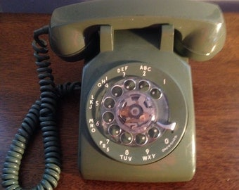 vintage rotary desk phone , avocado green