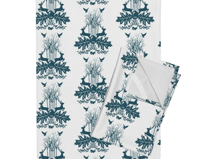 Woodland Crest - White and Dark Teal Tea Towel