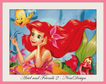 cross stitch pattern, cross stitch, Ariel and Friends 2 - cross stitch pattern - PDF pattern - instant download!