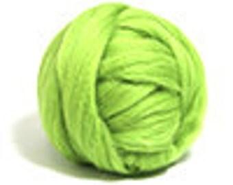 Corriedale Wool Roving /Combed Top/Braid in Leaf  - 2 oz