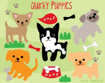 Dog Clipart- Puppies Clip Art -  Kawaii Clipart Animal Characters