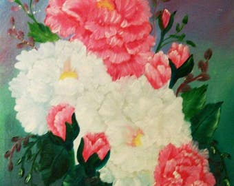 Oil Painting, Original 14x18, Floral Painting, Handpainted Roses, Southern Roses, Flower Painting, Roses in Pink and White, #14
