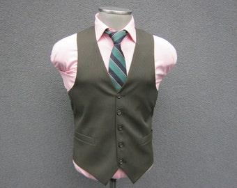 Vintage Brown Pinstripe Suit Vest / Brown Striped Waistcoat Size 36 Small / Mens Suit Vest / Wedding