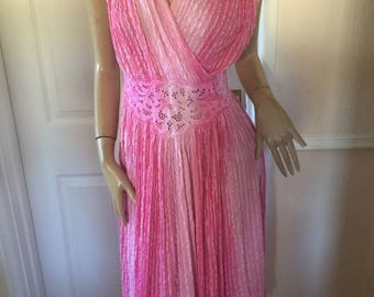 Max Morgan Grecian Isles Beautiful Authentic Vintage 70's Pink Summer Crinkle Cotton Dress Sz 12/14