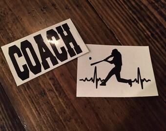 Baseball Player EKG & Coach Decal for Yeti/Ozark/RTIC Tumblers
