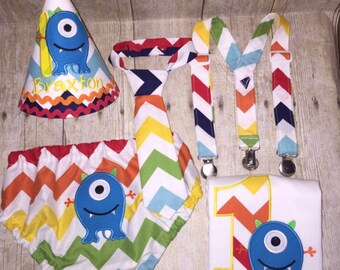 Boys Cake Smash Outfit - Monster Party - Diaper Cover, Tie (or Bow Tie) , Birthday Hat & Personalized Monster Shirt - First 1st Birthday