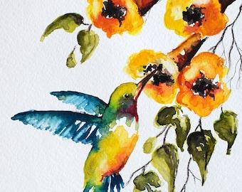 ORIGINAL Watercolor Green Blue Hummingbird, Colorful Yellow Watercolor Flowers 6x8 inch