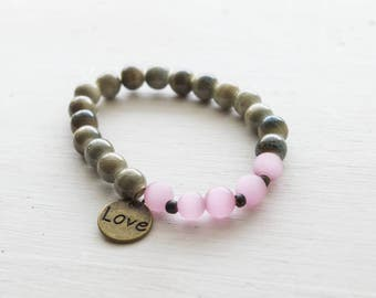 Pink and Green Earthy Romantic  Stretch Bracelet