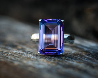 Amethyst Ring size 8.5 - Sterling Silver and Amethyst Ring  - Size 8.5 Amethyst Ring - Amethyst - Purple Amethyst Ring - February Birthstone