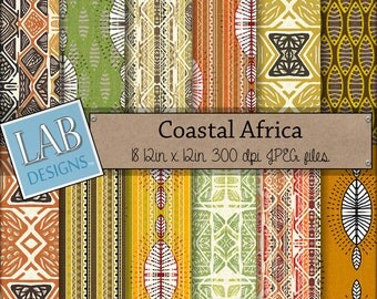 Africa Digital Paper - Ethnic Pattern - Digital Paper - Instant Download Tribal Fabric Printable Background for Personal Use