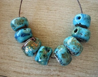 Lampwork Bead set of 8 Turquoise Rustic etched with Metallic Coppery Speckles Glass beads