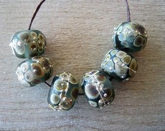 Lampwork Bead set of 6 Gray Green Glass with Raku and Fine Silver