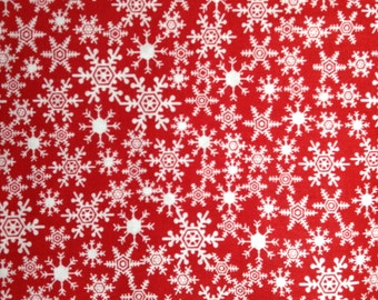 SALE - One Half Yard of Fabric - White Snowflakes on Red